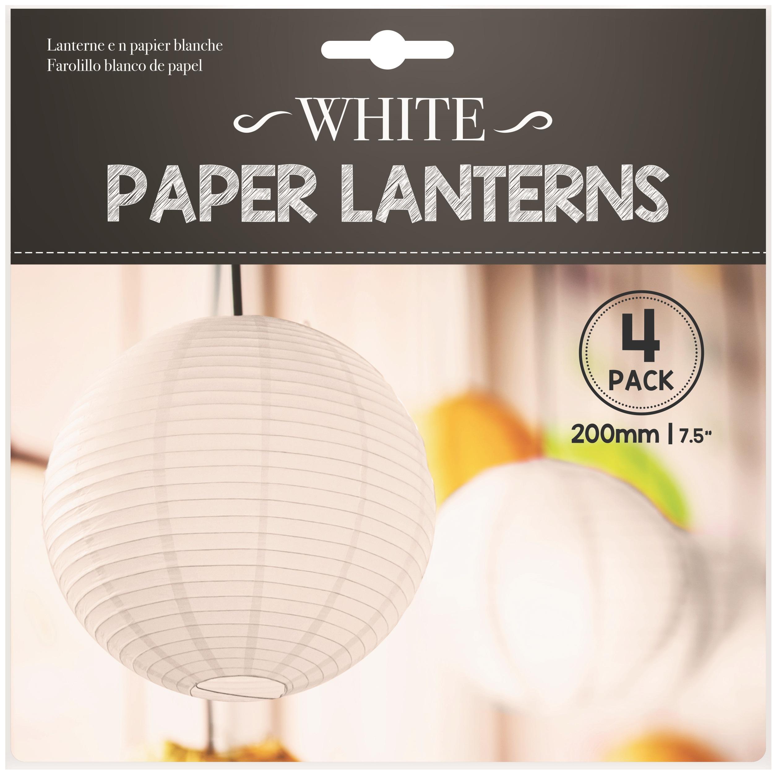 4 x Hanging 20cm White Paper Lanterns Lights Lamp Wedding Party ...