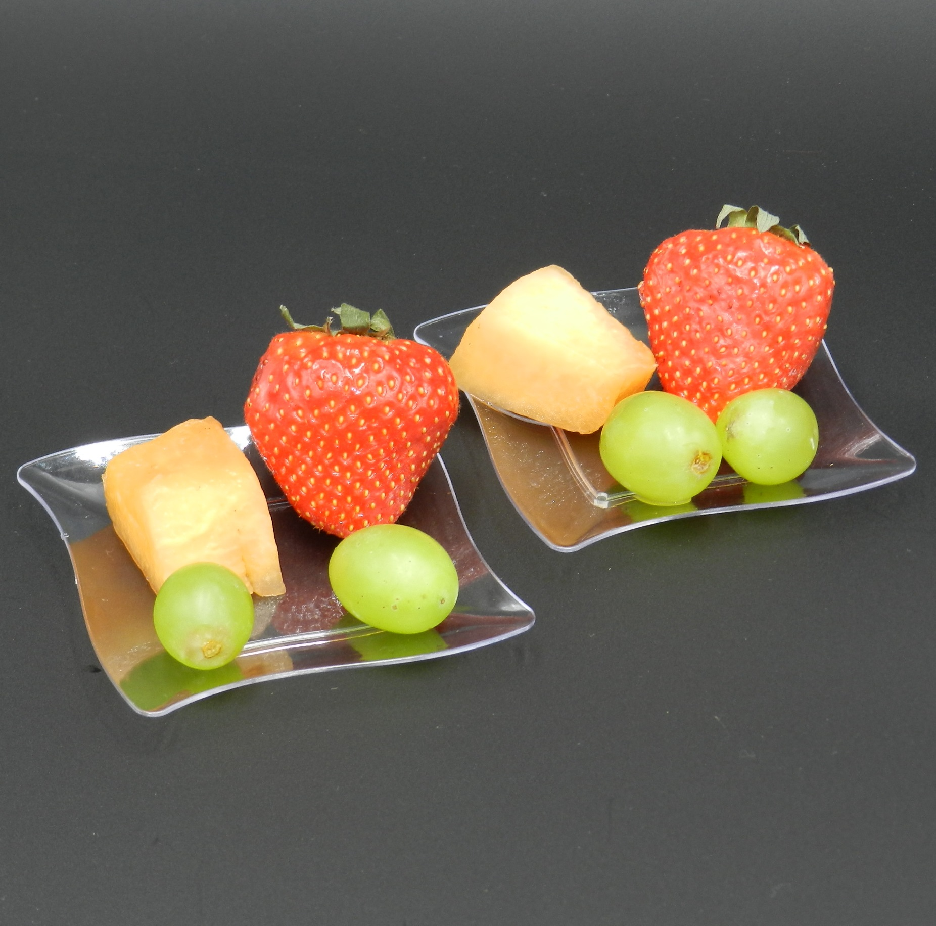 Pro plastic canape appetiser plates bowl dish trays buffet for Canape trays uk