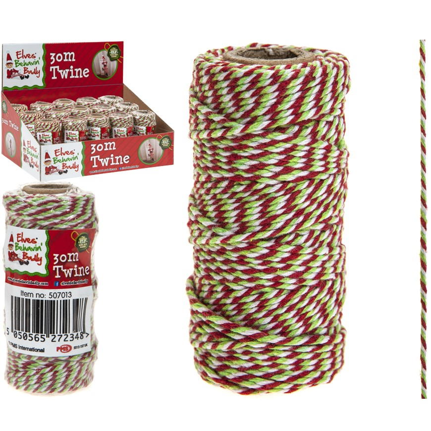 best service 3e387 977cf Details about 30M Red White Christmas Rope Tie Twine Traditional Presents  Gifts Wrapping