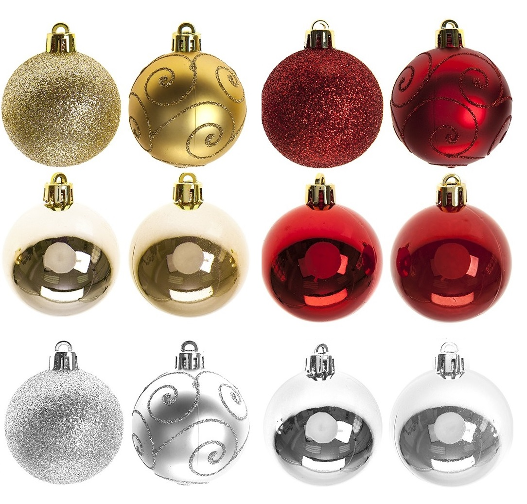 sentinel 24pc x 60mm gold red silver christmas tree baubles decoration glitter ornament