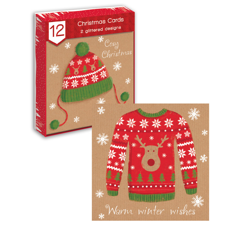 Glitter Christmas Cards.Details About 12 X 6 Square Wooly Luxury Kraft Glitter Christmas Cards Reindeer Santa Jumper
