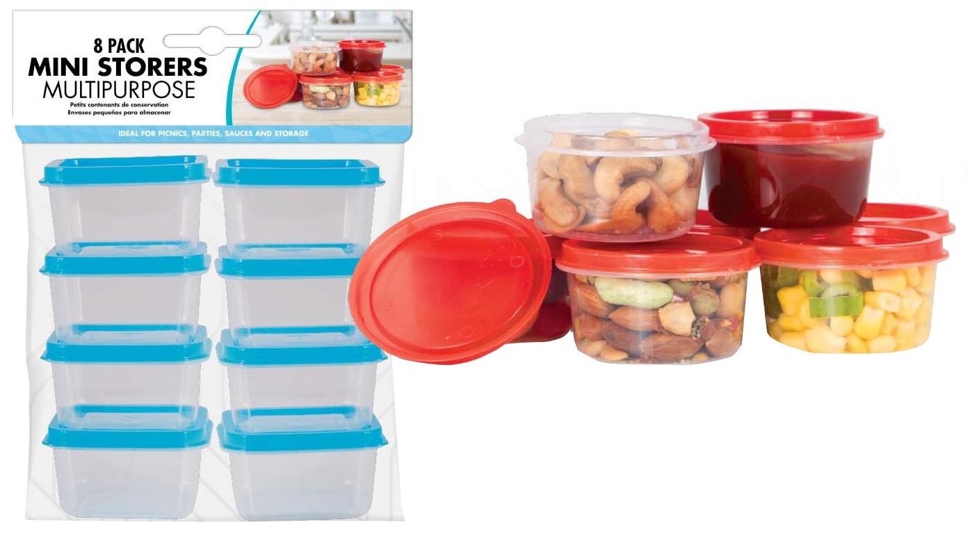 Sentinel 8pc Mini Food Storage Boxes Plastic Container Kitchen Baby Preparation Pot Snack