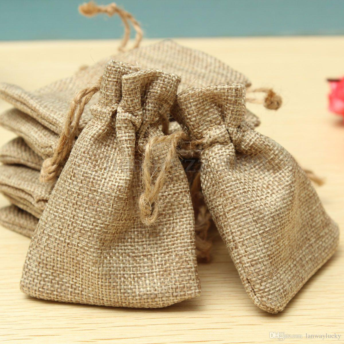 13cm Traditional Chic Hessian Jute Gift Bags Present