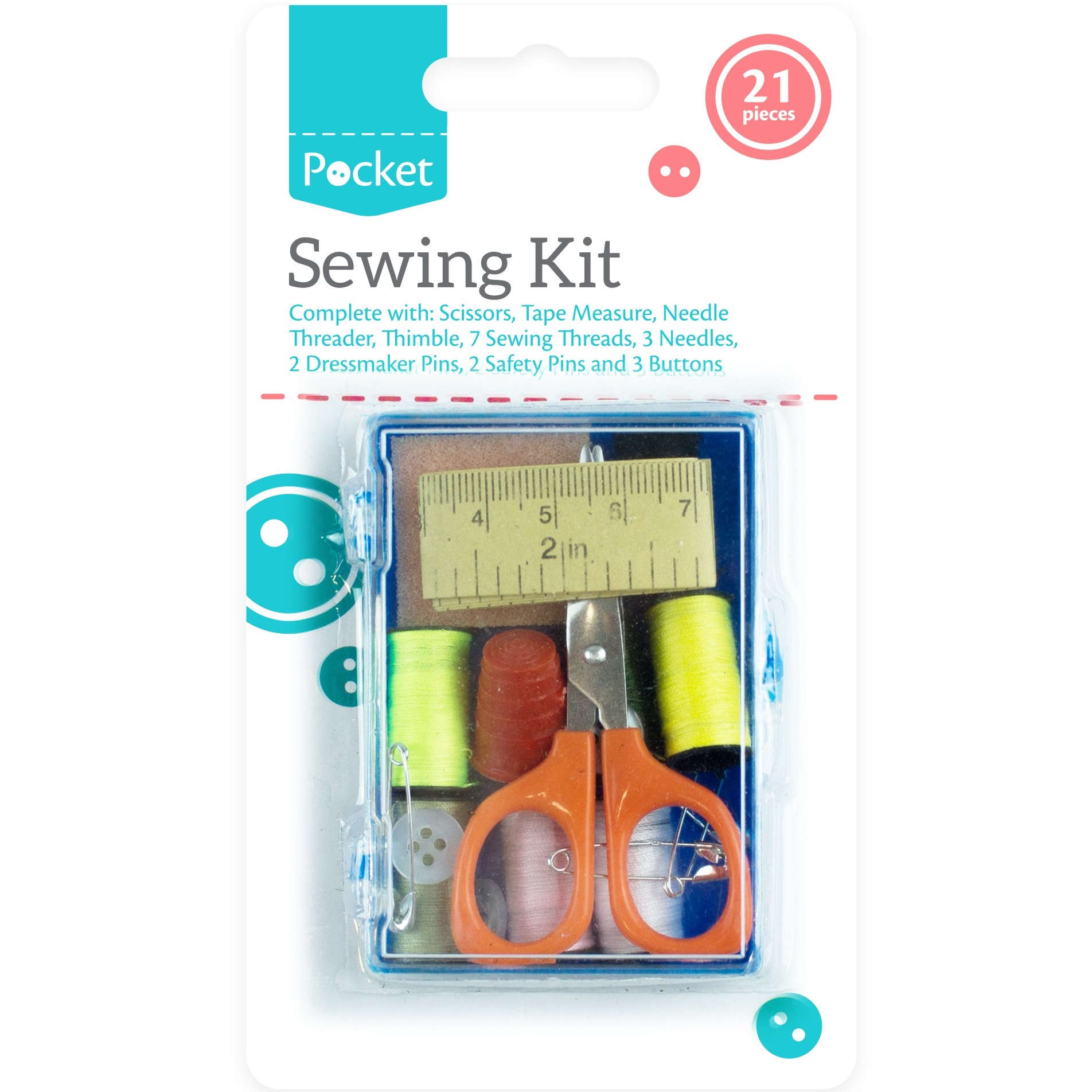 New 21pc Travel Sewing Kit Thread Needles Mini Case With Scissors Tape Pin Set