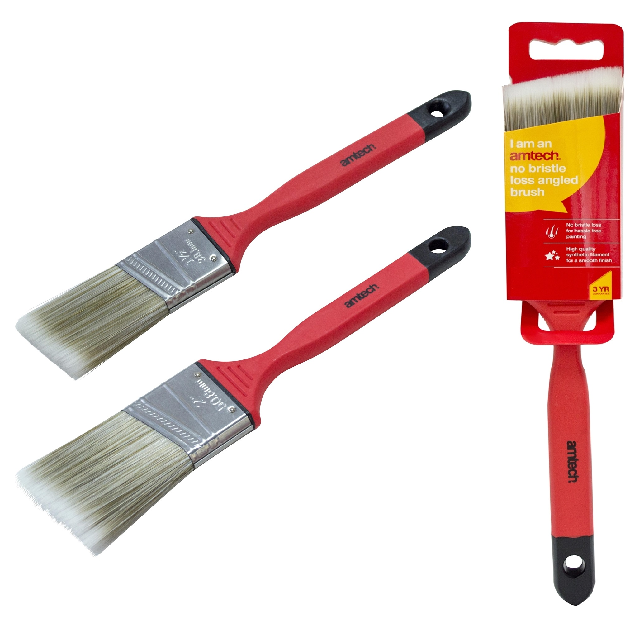 "2 Paint Brushes Set Soft Handle 50mm 2/"" No Bristle Loss Angled Brush"
