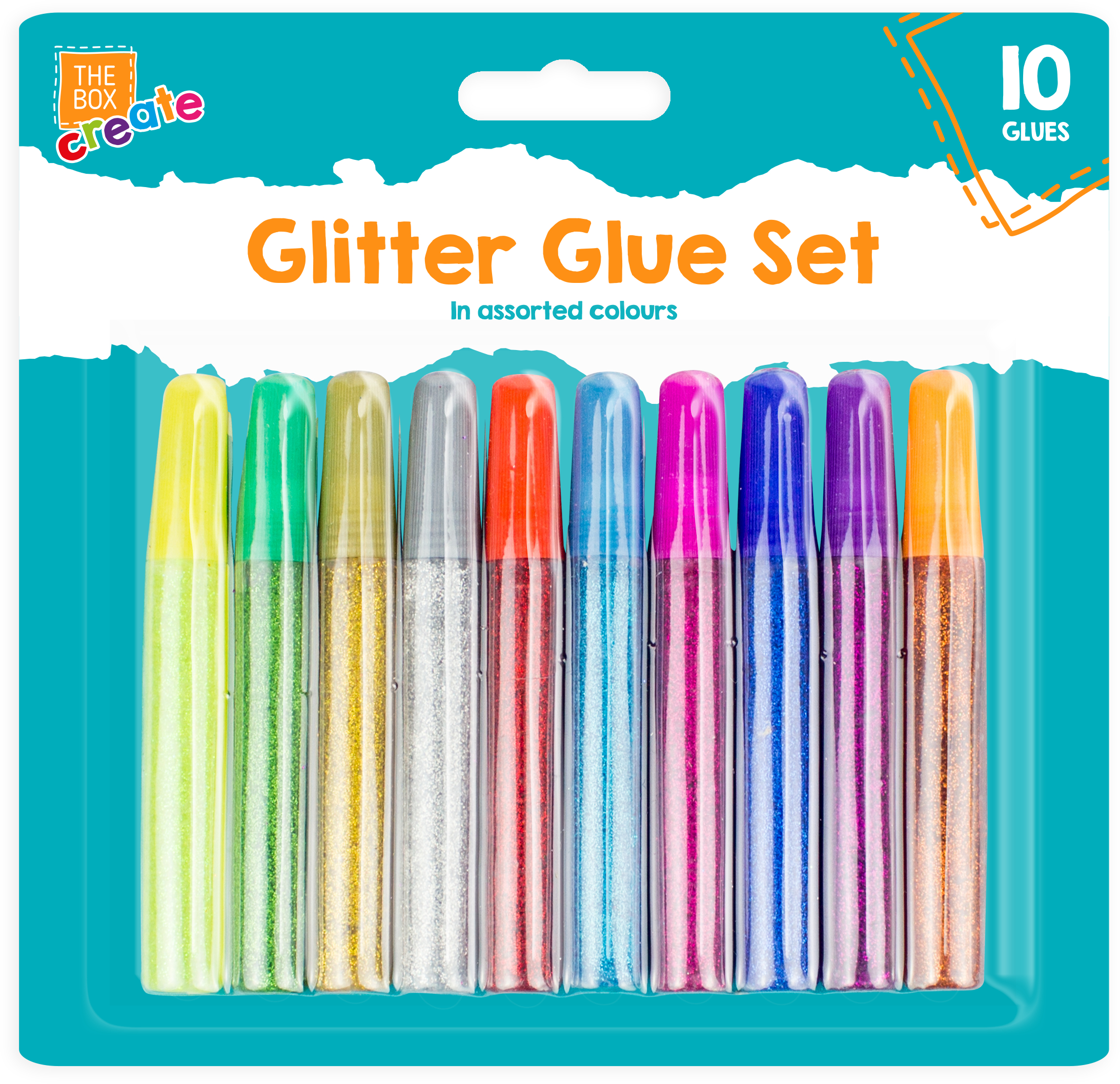 Pack of 10 Glitter Glues Pens Assorted Colours Children Art Craft Making