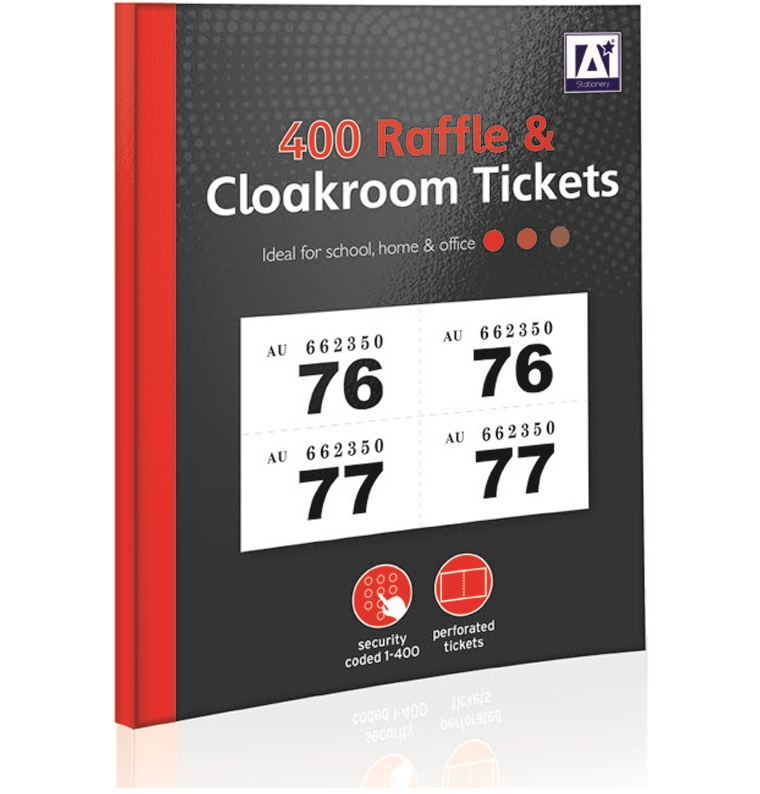 400 raffle cloakroom numbered tickets tombola draw security coded