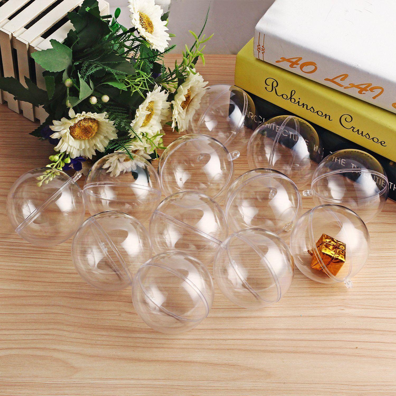 Boule Plastique A Decorer détails sur 6 x 40mm plastique transparent boules à remplir décoration  arbre ornement