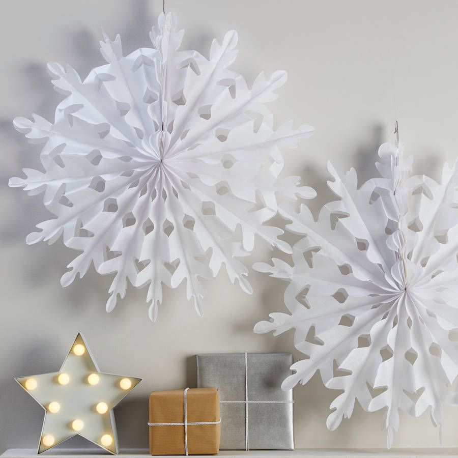 Sentinel 3 x 30cm Hanging Paper Snowflake Decoration Tissue Christmas Party Xmas Fans