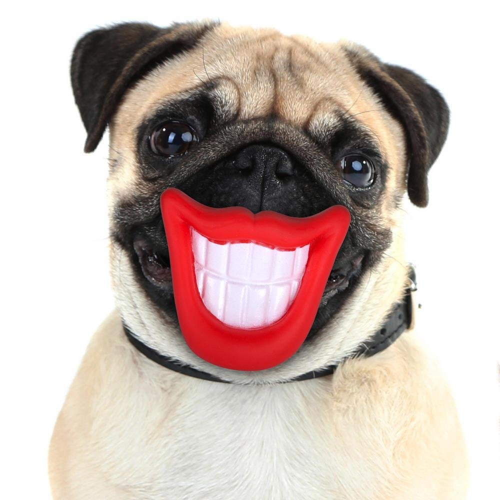 Smiley Puppy Dog Squeaky Chew Toy Novelty Mouth Gift Play