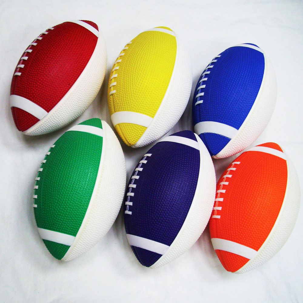 Kids Fun Outdoor Sports Vinyl Playball Moulded Soft Foam Rugby Set Of 6