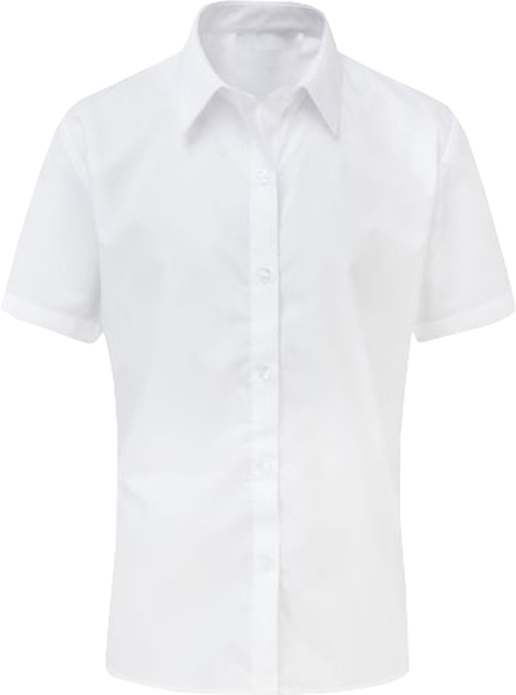 Girls School Shirt Uniform Short Sleeve White Sky Blue Age 2-18 Years