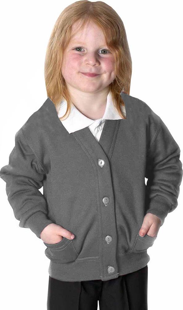 0deca62e792 Details about Girls Fleece School Cardigan Sweatshirt Uniform Age 2-14 Yrs  & Adult S-XXL