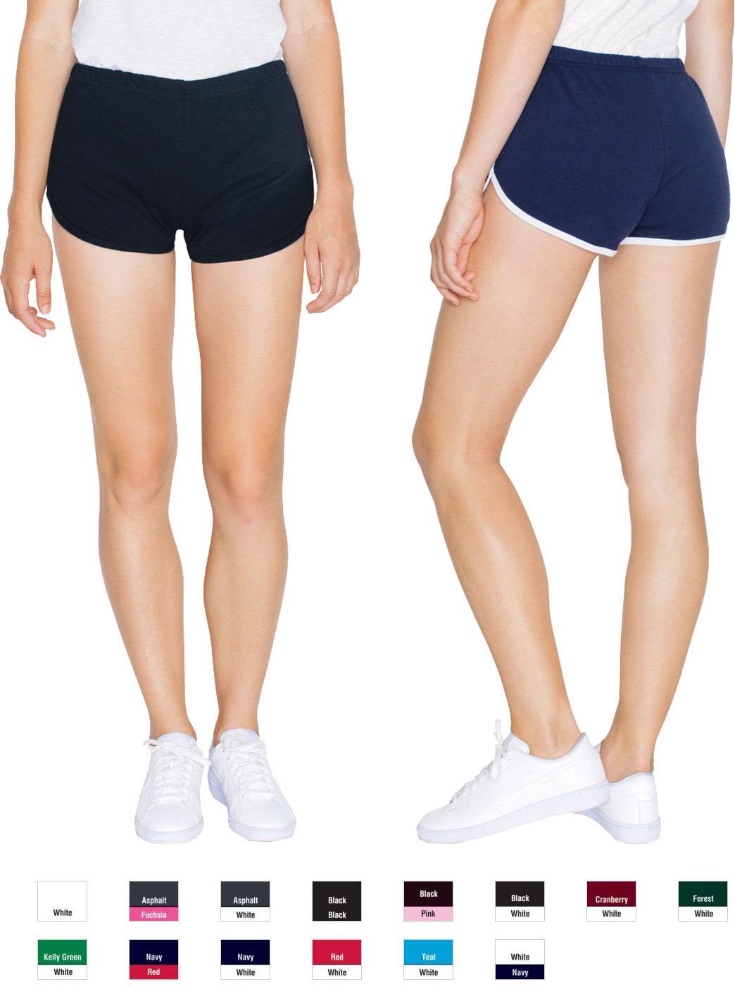 American Apparel INTERLOCK RUNNING SHORTS Girls Women/'s Yoga Running 7301W NEW