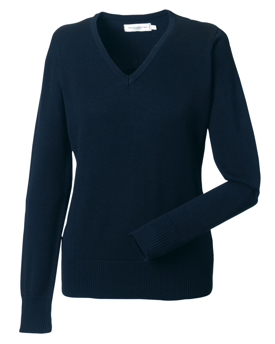 Russell-Collection-Ladies-V-Neck-Knitted-Pullover-Jumper-Formal-Sweater-Top-710F