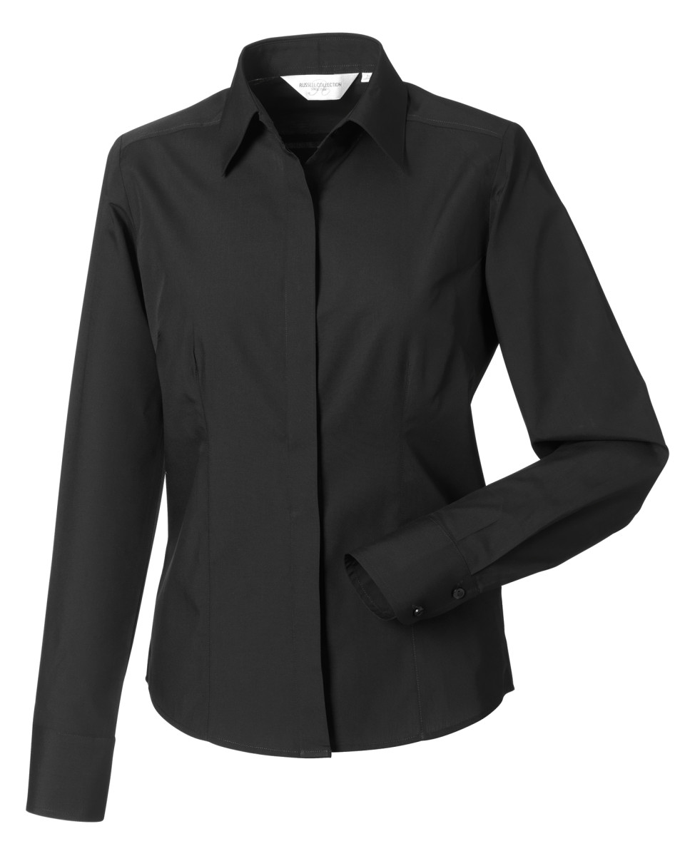 Russell-Collection-Ladies-L-Sleeve-Polycotton-Easy-Care-Fitted-Poplin-Shirt-924F