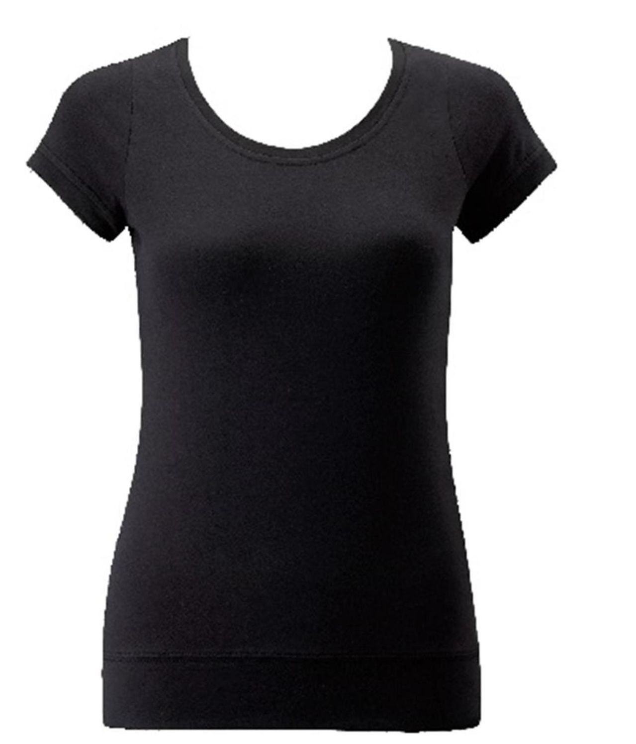 Russell-Collection-Short-Sleeve-Stretch-Top-Ladies-Scoop-Neck-Shirts-Tops-UK