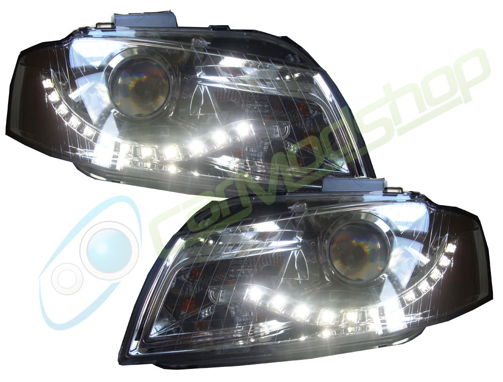 Eagle Eyes Rhd Projector Headlights LED DRL Chrome For Audi A3 03-08 8P Preview