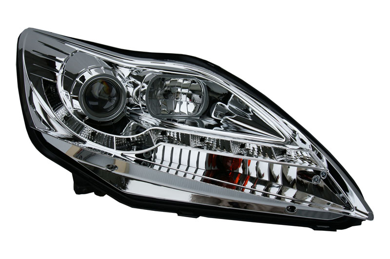 For Ford Focus   Projector Headlights Chrome Inner Drl W Mtr Type