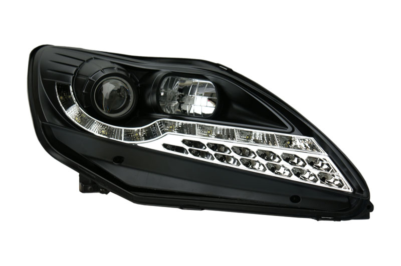 For Ford Focus Projector Headlights Black Inner Chrome Drl