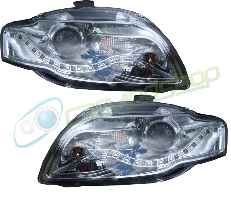 Eagle Eyes Rhd Projector Headlights Headlamps LED DRL Chrome Audi A4 B7 04-08 Preview