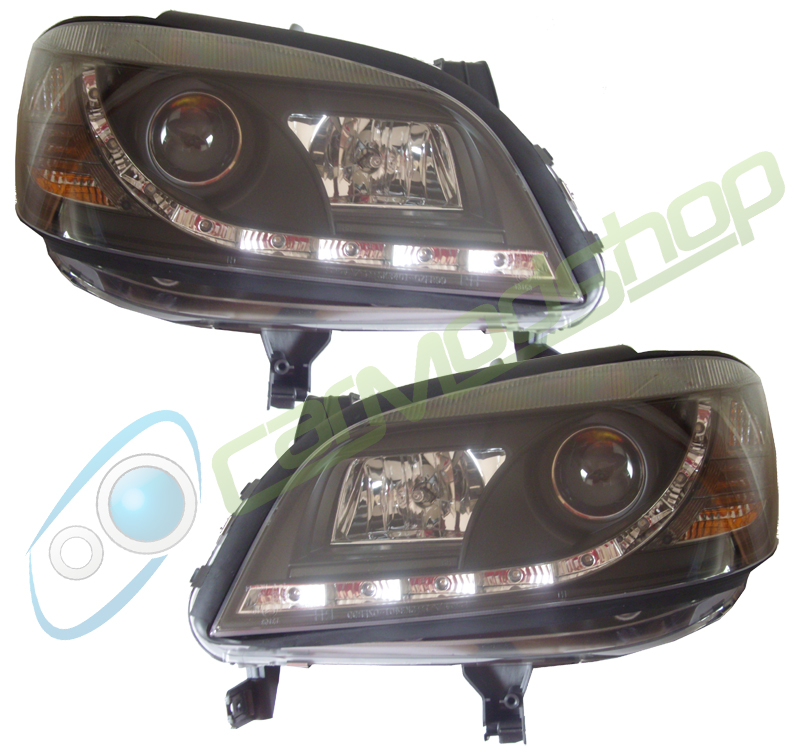 For Vauxhall Zafira A 99 05 Black Led Drl Projector Headlights Lamp