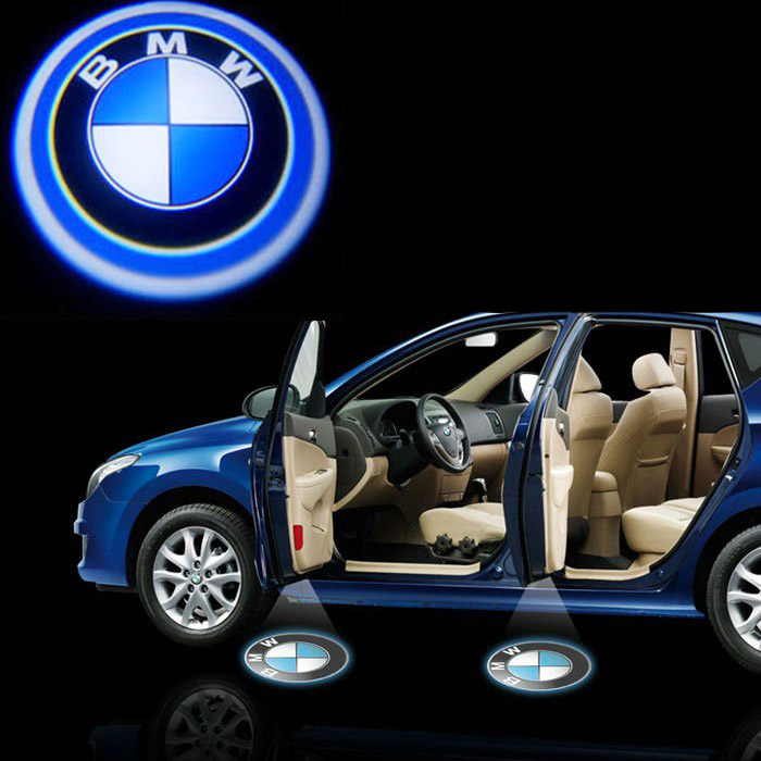 bmw 12v auto logo cree led geist schatten t r licht. Black Bedroom Furniture Sets. Home Design Ideas