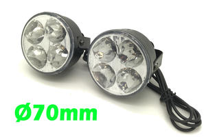 Round DRL 4 LED Daytime Running Lights Lighting Front Spot Fog Indicator Lamps Preview