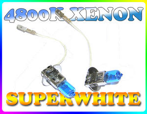 PAIR 55W H3 SUPERWHITE 4800K XENON HEADLIGHT BULBS Preview