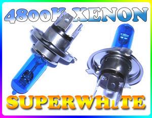 PAIR 55/60W H4 SUPERWHITE 4800K XENON HEADLIGHT BULBS Preview
