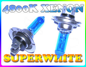 PAIR 55W H7 SUPERWHITE 4800K XENON HEADLIGHT BULBS Preview