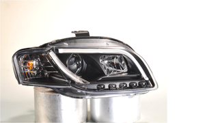 Audi A4 B7 04-08 Black Lightbar Style DRL Projector Headlights Lighting Lamp Preview