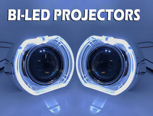 "2 x 3"" Full Bi-LED Retrofit Projectors Lens H1 H7 H4 Halo Shroud Xenon HID White Preview"
