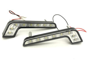 Chrome High Power L Shape DRL 8 LED Daytime Running Lights Lamps Pair Preview