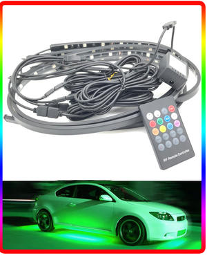 Remote control Multicolour Flexible Ground Undercar LED Neon Kit Glow strobe Preview