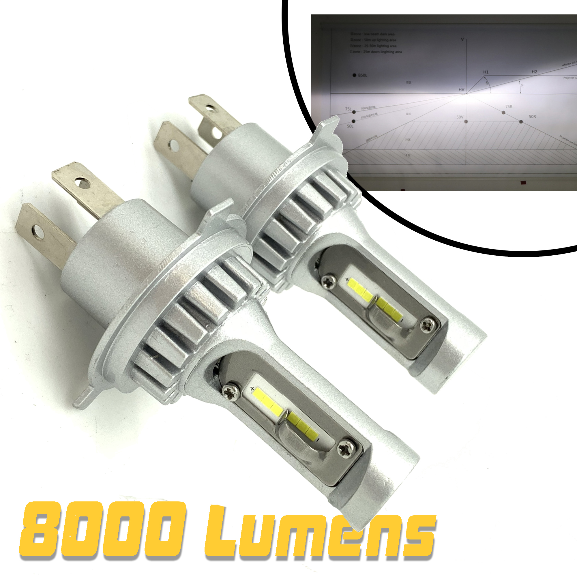 Micro H7 V12 CSP LED Headlight Bulbs Kit 8000lm For Ford Transit 14