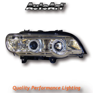 View Item BMW X5 98-03 Chrome LED Angel Eye Projector Headlights Lighting Lamp Spare Part