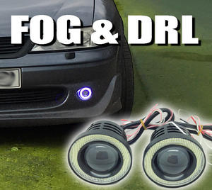 Projector Cob LED Fog DRL Spot Lights Angel Eyes Pair 3.5 3 & 2.5 2400 Lumens Preview