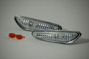 Pair Side Repeaters Indicator Clear Chrome BMW E46 Sedan Saloon Touring E60 Preview