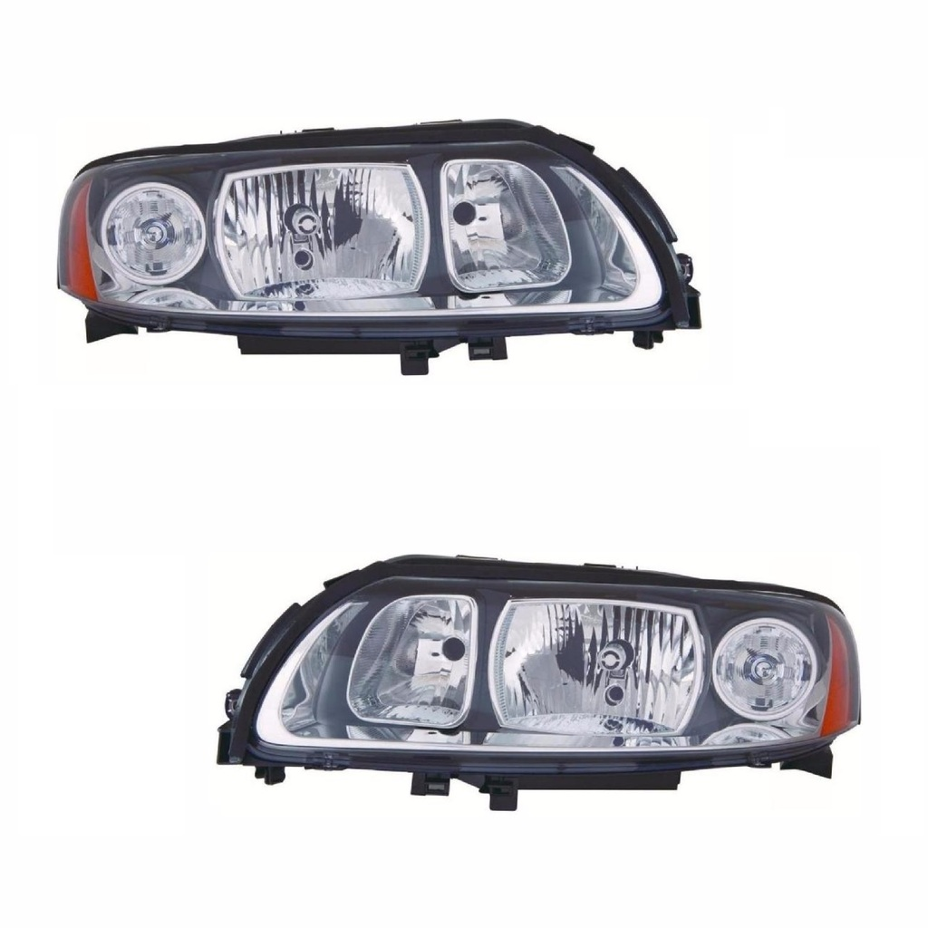Sentinel For Volvo V70 Mk2 5 2005 10 2007 Headlights Lamps Grey Surround Pair