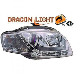 LHD Projector Headlights Pair LED Dragon DRL Lights Clear Chrome Audi A4 8E 04-07 Preview