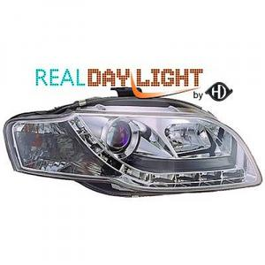 LHD Projector LED DRL Headlights Pair Clear Chrome Audi A4 Avant 8E 04-07 Preview