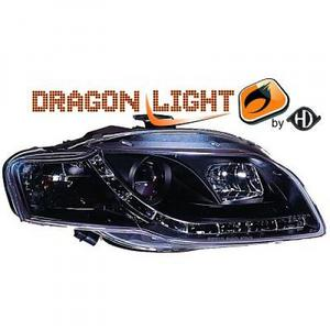 LHD Projector Headlights Pair LED Dragon DRL Lights Clear Black Audi A4 Avant 8E 04-07 Preview