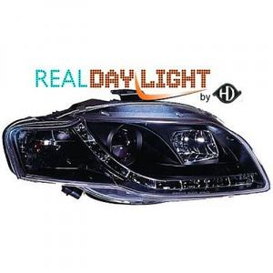 LHD Projector LED DRL Headlights Pair Clear Black Audi A4 Saloon 04-07 Preview