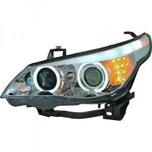 LHD Projector Headlights Pair Angel Eyes Clear Chrome BMW 5 Series E60 61 03-07 Preview