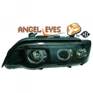 LHD Projector Headlights Pair Angel Eyes Clear Black H1 H1 BMW X5 E53 99-03 Preview