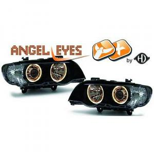 RHD LHD Xenon Headlight Pair Angel Eyes Clear Black D2S H7 BMW X5 E53 99-03 Preview
