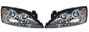 LHD CHROME PROJECTOR HEADLIGHTS LED ANGEL EYE DRL FORD MONDEO MK3 00-07 Preview