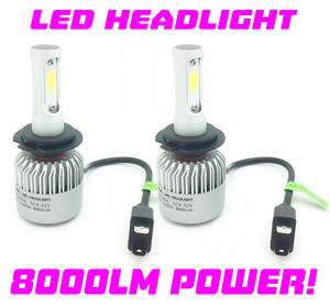 COB LED Headlight Bulbs Kit 8000 Lumens! 12v-24v Canbus Error Free 100w H7 H4 Preview