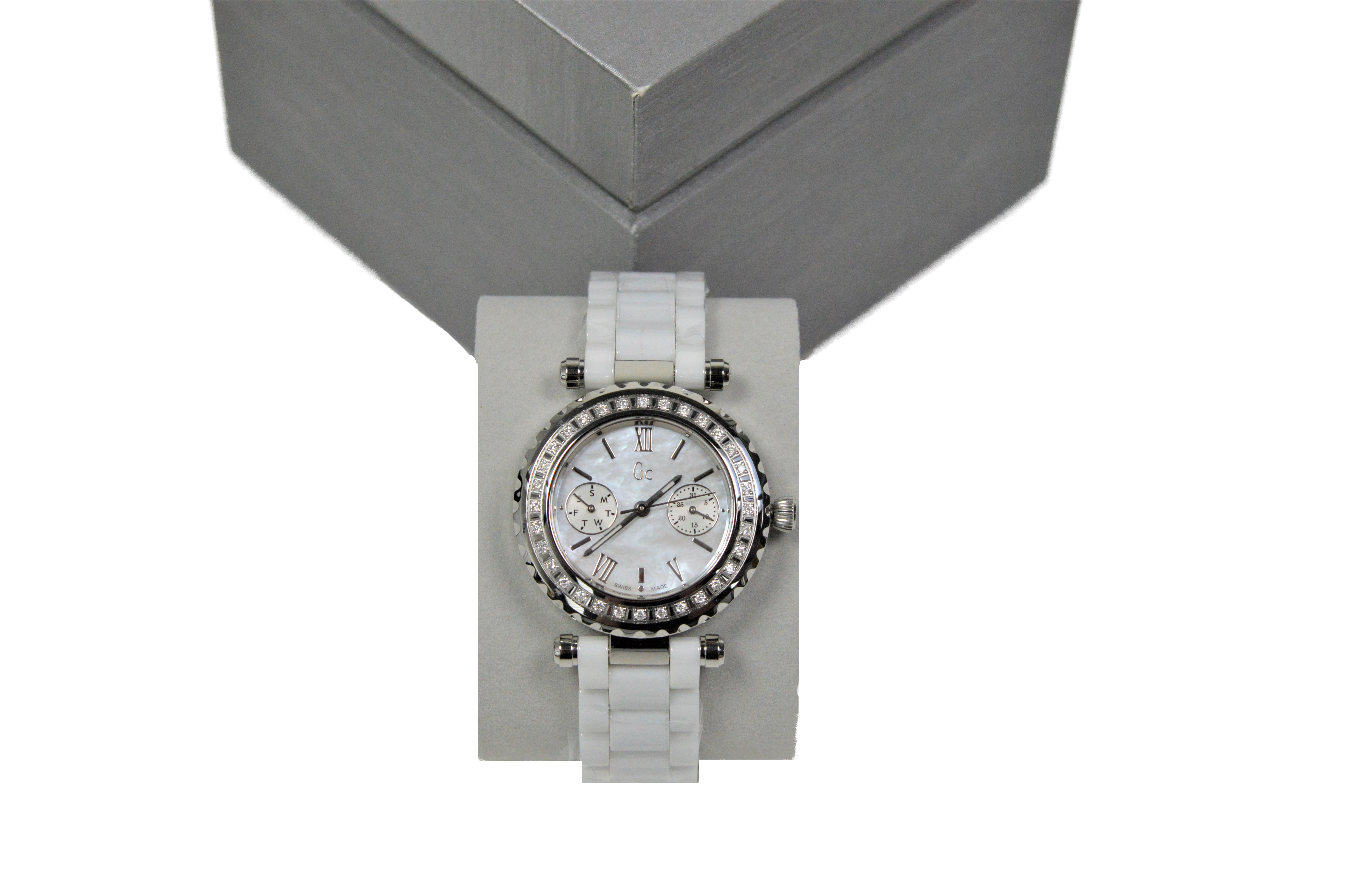 0088274b8 Details about GC Collection I01200L1 Womens Diver Chic White Ceramic Watch  / 32 Diamond Bezel
